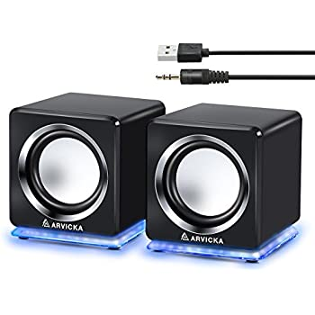 awesome computer speakers. arvicka blue led usb speakers- wired laptop speakers 2.0 channel small computer desktop for awesome