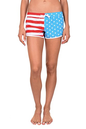 Tipsy Elves Women's USA American Flag Summer Beach Shorts (X-Large)