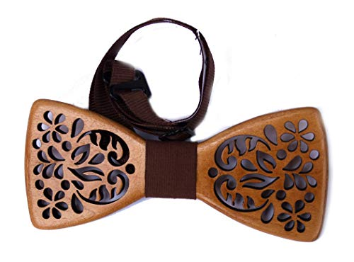 Mens Wooden Bow Tie Flower Pattern Necktie from Alder Wood Eco Friendly Bowtie Suitable for Any Necks Wedding Groomsman ()