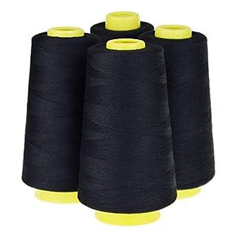NEW 1 Black 6000 Yard spool 100/% spun polyester Sewing Serger thread