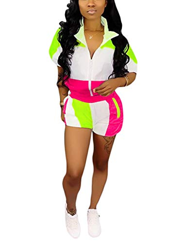 Casual Two Piece Color Block Outfit Half Sleeve Tops and Shorts Set Rose M (Casual Blocks)