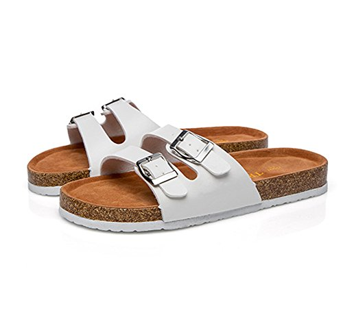 Unisex-Adult Flat Cork Sandals Open-Toe Slip On Beach Slippers Shoes With Double Buckles White arZIIGk