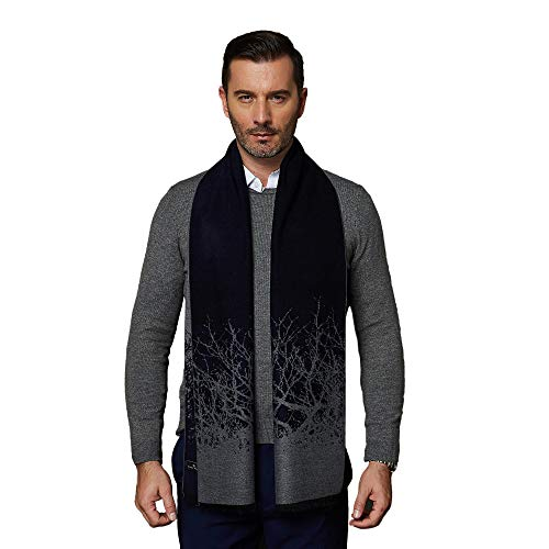 CUDDLE DREAMS Men's Silk Scarves, 100% Mulberry Silk Brushed, Luxuriously Soft (Abstract Design Navy Gray)