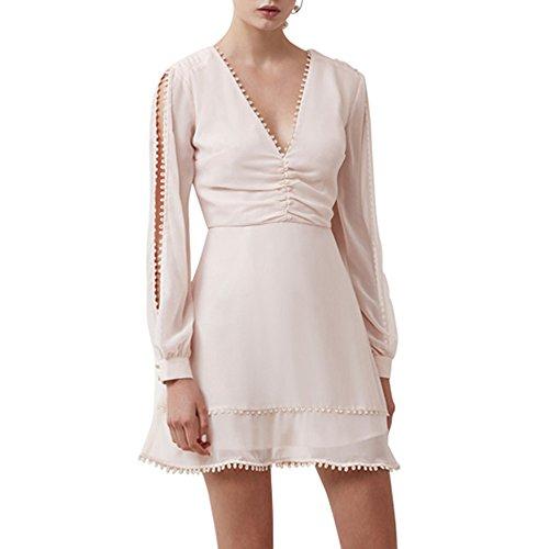 Keepsake The Label Come Around Long Sleeve Mini Dress in Shell (Medium, Shell)
