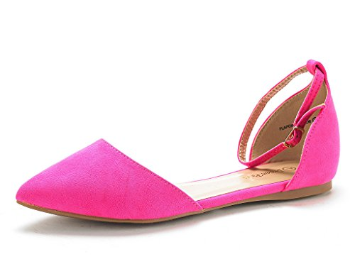 DREAM PAIRS Damen FLAPOINTED-New D'Orsay Ballerinas Schuhe Fuchsie