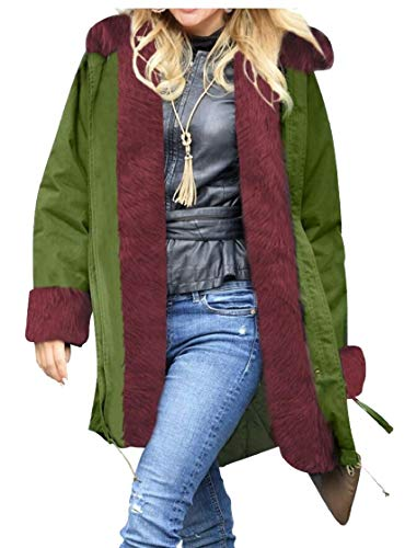 TTYLLMAO Womens Lined Parkas Military Hooded Warm Winter Coat 5