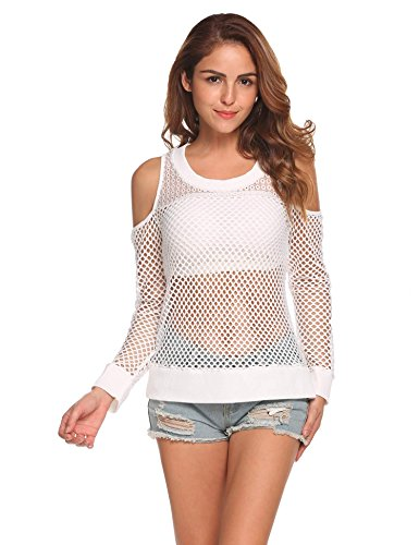 Mesh White Long Sleeve Top (SummerRio Womens Long Sleeve Cold Shoulder See-Through Fishnet Mesh Top Shirt)