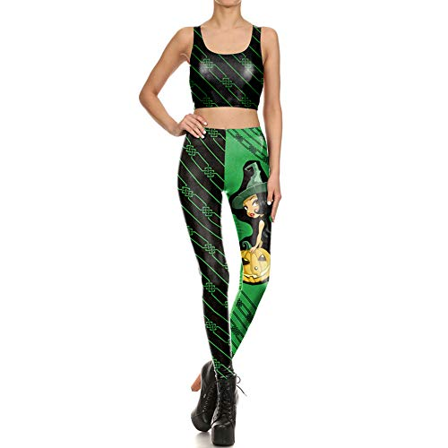 Yaxuan Halloween Costume Women's Outfits Set Clothes,Pumpkin Witch 3D Printing Sleeveless Tops Long Pants Set Carnival Festival,1,S ()