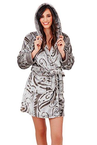 Paisley Donna Loungeable Vestaglia Vello Hooded Di Notte Lusso Da Lounge Abbigliamento Supermorbido 6nvnHxp