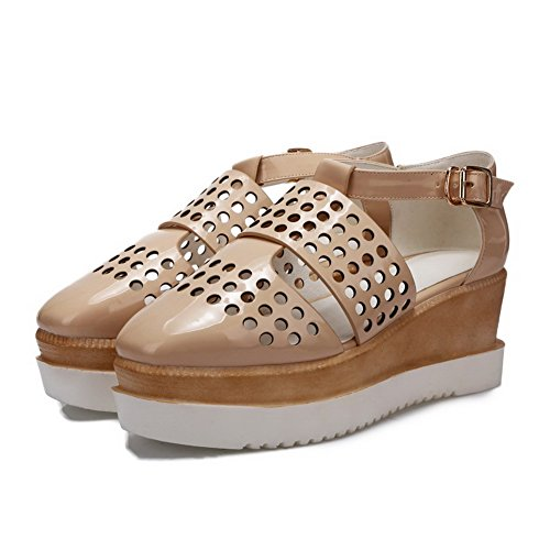 Toe WeenFashion Solid Buckle Beige Women's Sandals Round Kitten Closed Heels PU qBP01wq