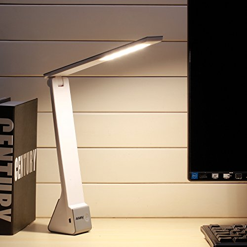 AVAWAY LED Desk Lamp, Wireless Eye-Caring USB Rechargeable Table Lamp, 3 Lighting Mode Touch Reading Lamp for Office, Bedroom, Living Room, Travel - Silver (Ava Table Lamp)