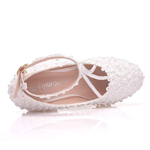 Boda Formales Con Y Las Zapatos Mujeres 40 Fiesta white Cuentas Noche Blanco Vestido De Yan Encaje Cuña Y81Owxq