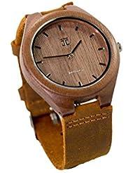 Joycoast Walnut Wooden Watch with Genuine Leather Strap