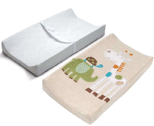 Summer Infant Contoured Changing Pad & Plush Pals Changing Pad Cover - Safari