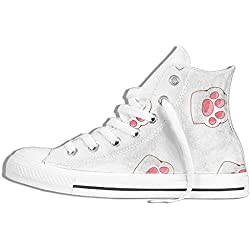 NAFQ Pink Cute Bear Paw Classic Canvas Sneakers Shoes Lace Up Unisex High Top