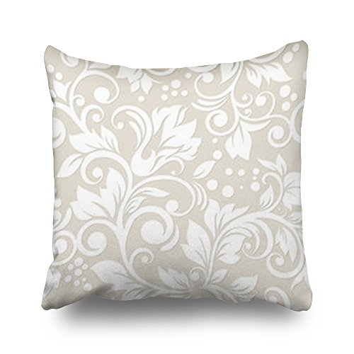 Leaf Pattern Mission (Throw Pillow Covers Seamless Flowers Leaves Floral Ornament Texture Nature Wallpaper Pattern Home Decor Pillow Cases 20x20 Inches Square Cushion Case Decorative Pillowcase)