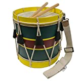 Authentic 16'' Civil-Revolutionary War Era Wooden, Distressed-Looking Marching Snare Drum Antique Reproduction With Drum Sticks