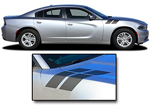 RECHARGE DOUBLE BAR 2 : 2015-2018 Dodge Charger Hood to Fender Hash Mark Accent Vinyl Graphic Decal Stripes (Fits SE SXT RT HEMI ALL MODELS) (Color-3M 5095 Matte Black) Double Panel Hood