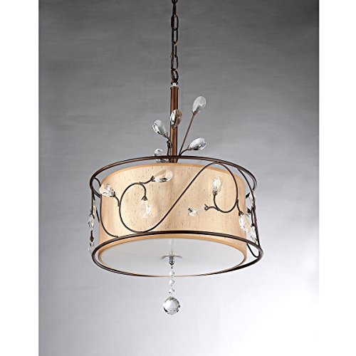 Amelia Bronzetone and Round Fabric Shade Chandelier by AR Lighting