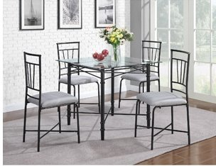5 Piece Delphine Glass Top Metal Dining Set, Black. Modern, Glass Top