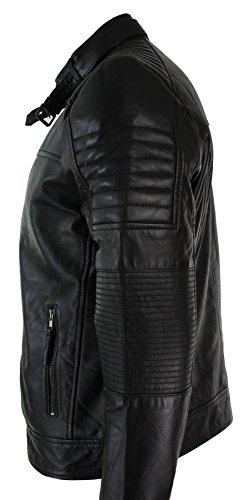 Rétro Veste Véritable Cuir Noir Style Homme Look Motard Biker 6wXR8r6q