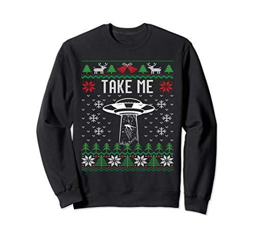 Funny Ugly Christmas Pajama UFO Alien Abduction Sweatshirt