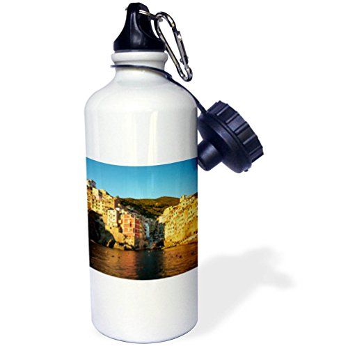 3dRose Danita Delimont - Italy - Sunset on the town of Riomaggiore, Liguria, Italy - 21 oz Sports Water Bottle (wb_277566_1) by 3dRose