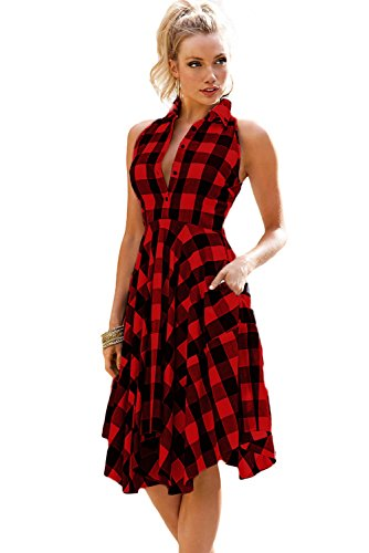 Red And Black Plaid Dress - 3
