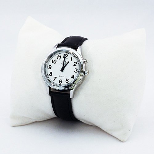 One-Button Talking Watch with Alarm - Silver w/White Face-Female-Leather Band