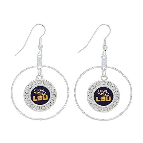 """FTH LSU Tigers 2"""" Silver Tone Hoop Earrings Featuring Clear Crystal Rhinestones"""