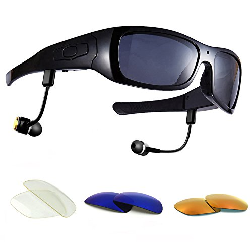 Forestfish Video-Glasses with Headset 16GB HD 1080P Video Recorder Camera Glasses for iOS Android Smartphone Polarized Sunglasses, Black+3 Color Lenses (Best Lens Color For Fishing)