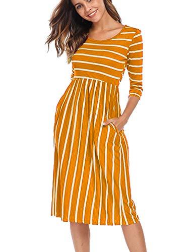 Halife Women Pleated Loose Dresses with Pocket Summer Swing Dress(M, - Pocket Pleated