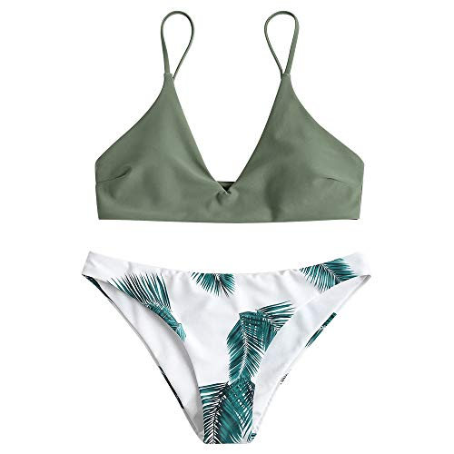 ZAFUL Women's Swimsuit Leaf Print Padded Bathing Suits Adjustable Straps Bikini Set Camouflage Green L ()