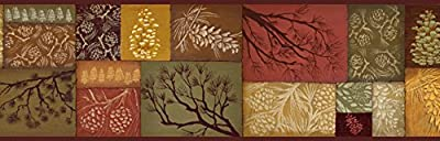 Chesapeake BBC35511B Monde Pinecone Branch Collage Wallpaper Border, Brown