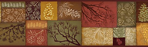 Perfect Chesapeake BBC35511B Monde Pinecone Branch Collage Wallpaper Border, Brown