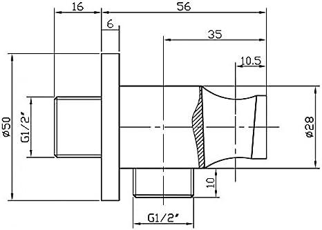 design arrondi Coude /à encastrer avec support mural pour douchette et clapet anti-retour BA003