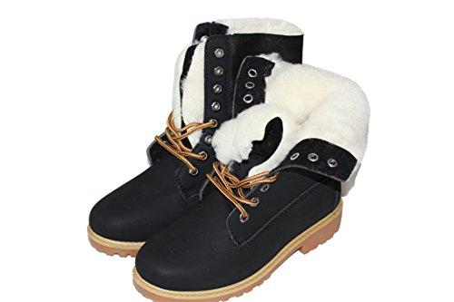 Damen Winterschuhe Boots Damenschuhe Stiefelette Outdoor Schuhe mit Kunstfutter Schwarz