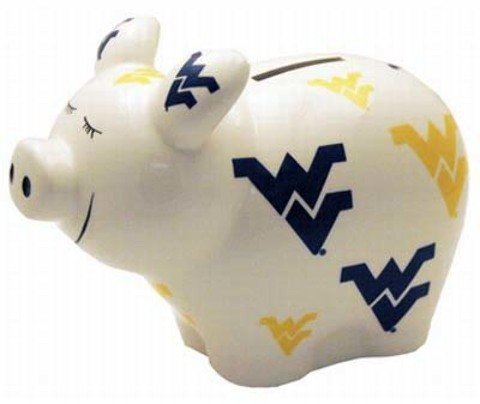 NCAA West Virginia Mountaineers Piggy Bank with All Over Logo