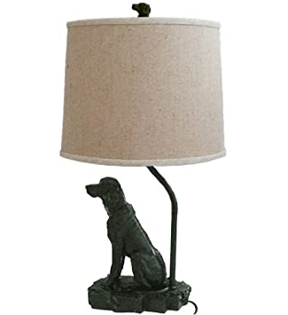 Rustic Dog Lamp with linen shade. Use up to 100 watt bulb. Dog Lamp