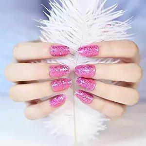 YUNAI uñas postizas - El atractiva y bonita y brillante Corto Tamaño Rose Red clavo falso