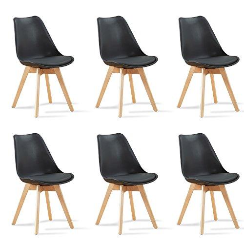 Designetsamaison Lot de 6 chaises scandinaves Noires Bjorn
