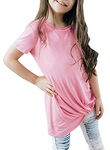 Girls Blouse Sleeve Short (GOSOPIN Girls Casual Short Sleeve Knot Front T-Shirts Loose Tunic Tops 4-13Y XX-Large Pink)