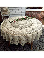 Jinshing 55'' Vintage Beige Round Handmade Crochet Cotton Lace Table-Cloth Doily (55 Inch)
