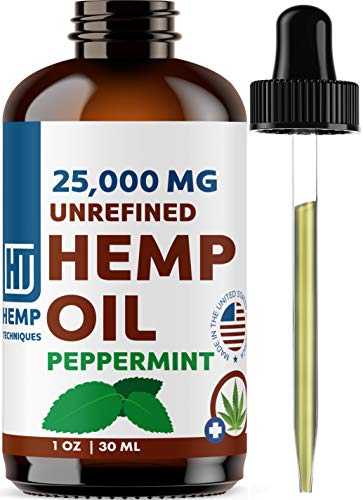 Unrefined Hemp Seed Oil Peppermint Flavored- Pure, Organic, Natural Hemp Massage Oil Cold Pressed Raw Aromatherapy Virgin Hemp Oil Body Hair Skin Nails Base Oil