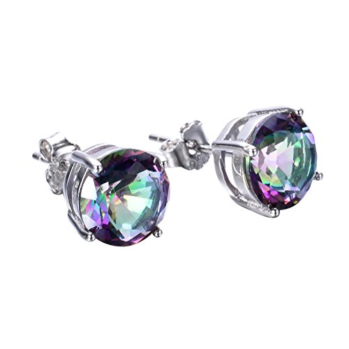 925 Sterling Silver Opal Stud Earrings, 6mm Round Stud Earrings in White Gold or Rose Gold for Women (Rainbow Color-6mm)