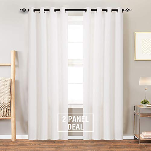 Curtains Textured Drapes for Living Room 72 inch Length Light Filtering Window Curtain Panels for Bedroom 2 Panels White ()