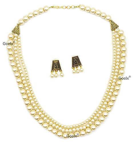 GOELX Beautiful Rani haar Moti Pearl Necklace Set Designer Layer Necklace with Lovely ()