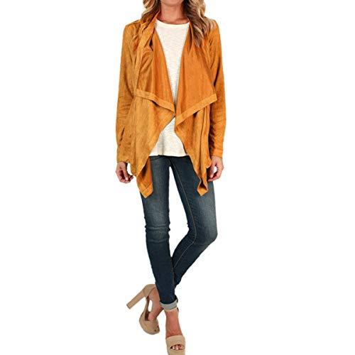 abrigo rebeca manga Primavera larga Mujer ZFFde Yellow de Invierno abierta primavera suelta Chaqueta Color irregular S tamaño tFqwP0q
