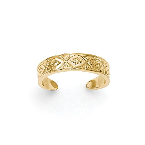 14K Gold Polished Wave with flower Center Toe Ring by CoutureJewelers