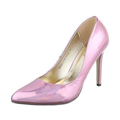 Ital-Design High Heel Damenschuhe Plateau Pfennig-/Stilettoabsatz High Heels Pumps Rosa